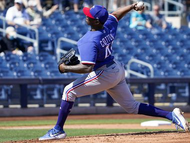 Texas Rangers pitcher Jharel Cotton delivers during the first inning of a spring training game against the Seattle Mariners at Peoria Sports Complex on Wednesday, March 10, 2021, in Peoria, Ariz.