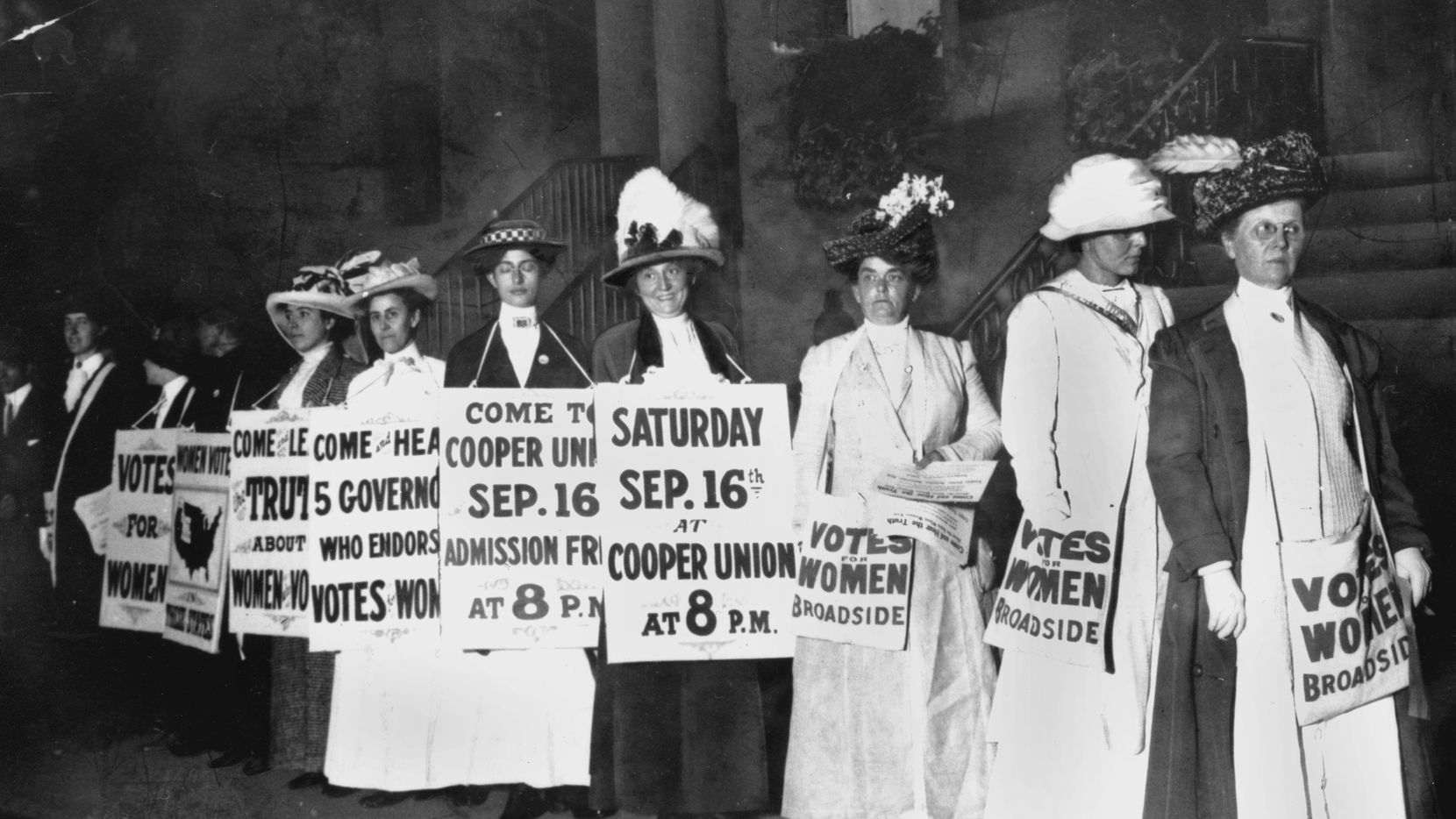 Demonstrators in 1916 hold a rally for women's suffrage in New York. The Seneca Falls convention in 1848 is widely viewed as the launch of the women's suffrage movement, yet women didn't gain the right to vote until ratification of the 19th Amendment in 1920.