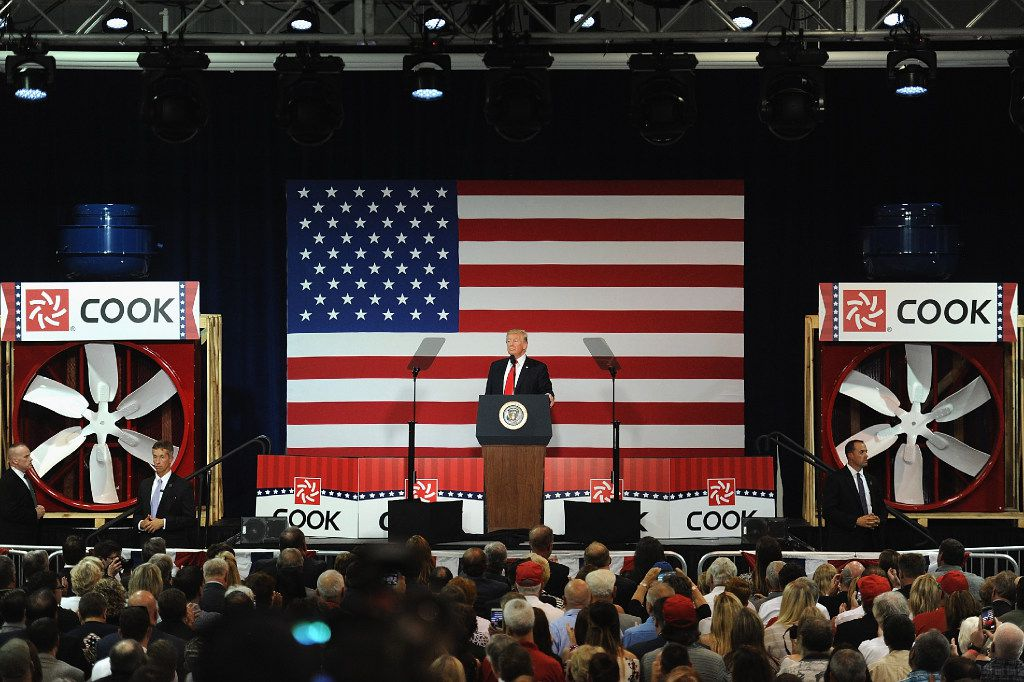 President Donald Trump pitched his tax reform message during an appearance at the Loren Cook Company in Springfield, Mo., on Wednesday.