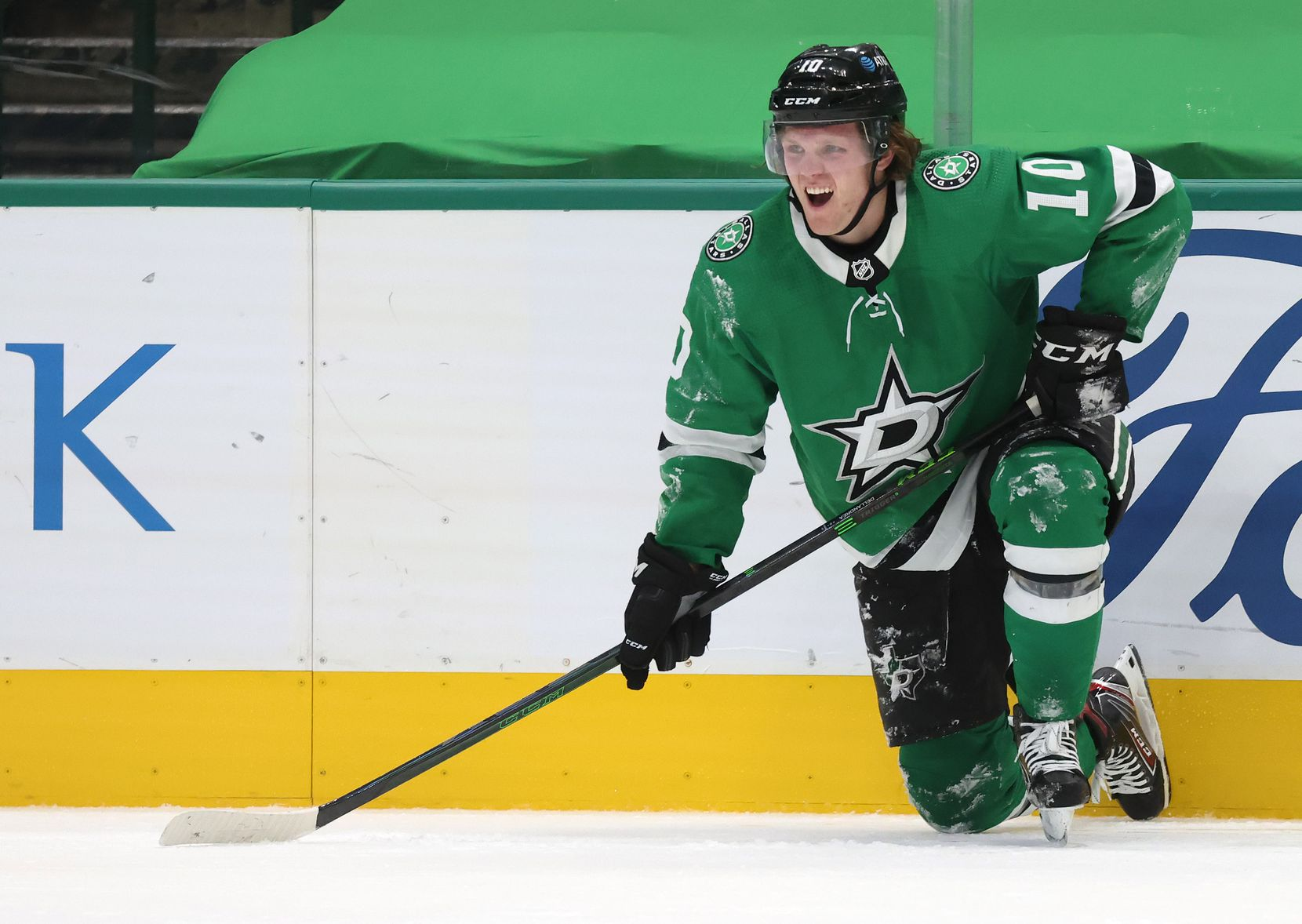 Dallas Stars Ty Dellandrea (10) is slow to get up after getting checked in a game against the Detroit Red Wings during the second period of play at American Airlines Center on Tuesday, January 26, 2021in Dallas. (Vernon Bryant/The Dallas Morning News)