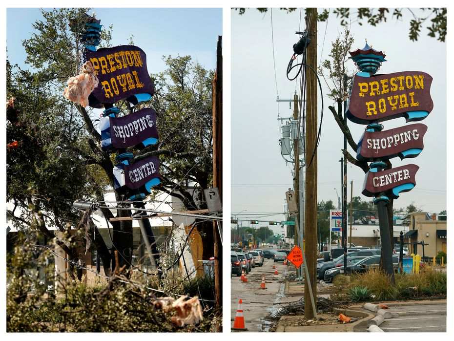 On left: The Preston Royal shopping center sign was still standing, but crooked, the day after tornadoes ripped through Dallas.   On right: A little damage remained when this photo was taken Nov. 7, 2019, but the northern corners of Preston Road and Royal Lane have mostly recovered from the storm.