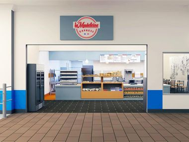 La Madeleine Express, a consolidated grab-and-go express version of La Madeleine legacy restaurants pictured in this rendering, will debut its first ever location in Garland this summer.