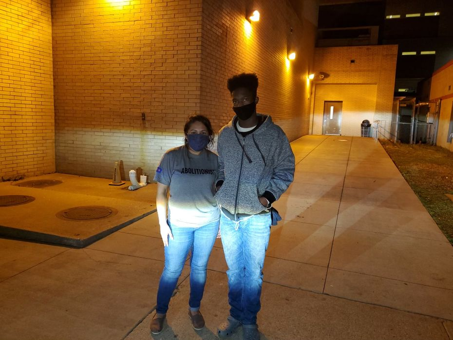 Dalila Reynoso, left, a community organizer at the Texas Jail Project, and Glenn Hayes, right, after Hayes was bailed out from Smith County Jail. The Texas Jail Project runs a bail fund in Tyler.