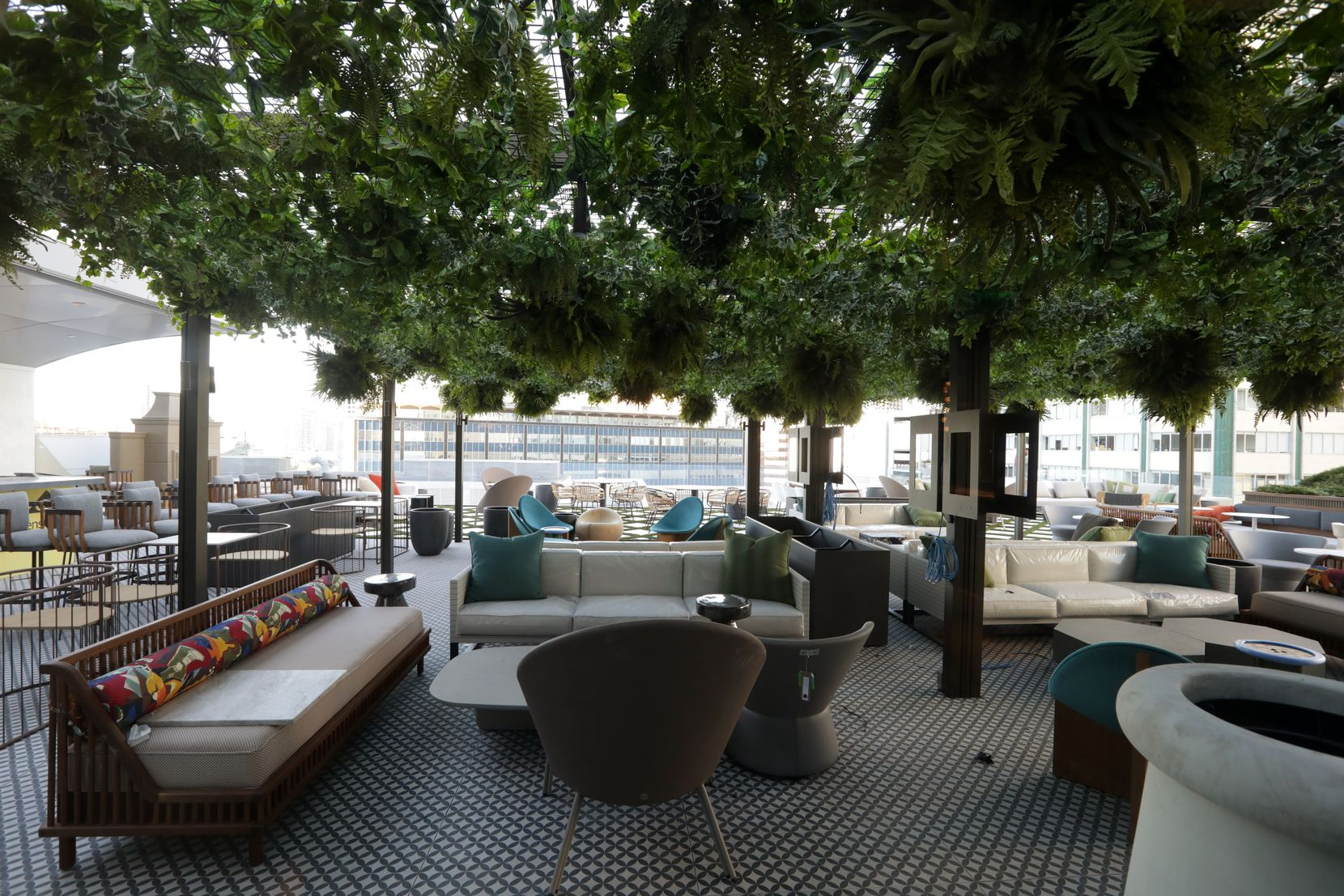 Catbird has a large patio that's high enough up — the tenth floor — that it doesn't feel like it's plunked in the middle of downtown Dallas.