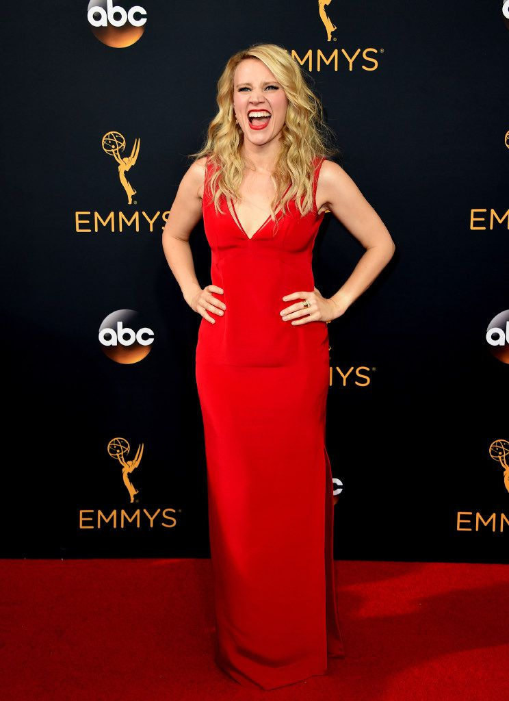 In this 2016 file photo, Kate McKinnon arrives at the 68th Primetime Emmy Awards at the Microsoft Theater in Los Angeles.
