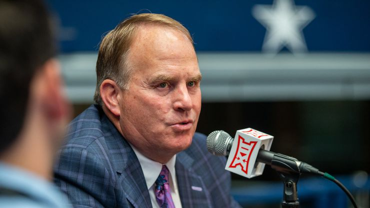Texas Christian University head football coach Gary Patterson  speaks with reporters during the breakout session of the Big 12 Conference Media Days event at the AT&T Stadium in Arlington, Texas, Monday, July 15, 2019.