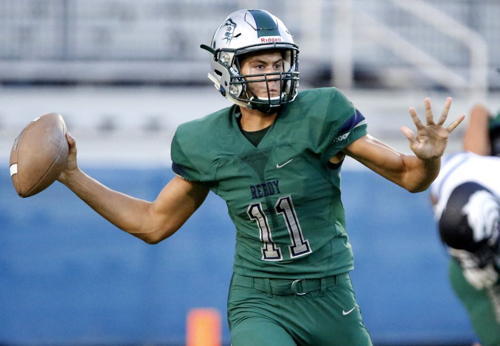 Reedy High School quarterback Jalen Kitna (11) throws a pass during the first half as Reedy High School hosted Plano West High School in a non-district football game at Toyota Stadium in Frisco on Thursday, August 28, 2019. (Stewart F. House/Special Contributor)