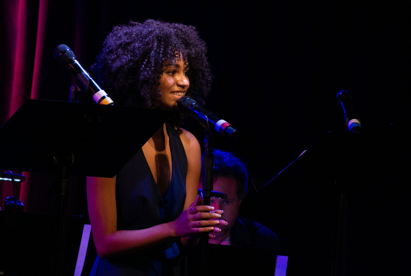 "Laurissa ""Lala"" Romain performs in a concert in New York on Monday, Aug. 19, 2019, designed to showcase songs from the musical Oswald."