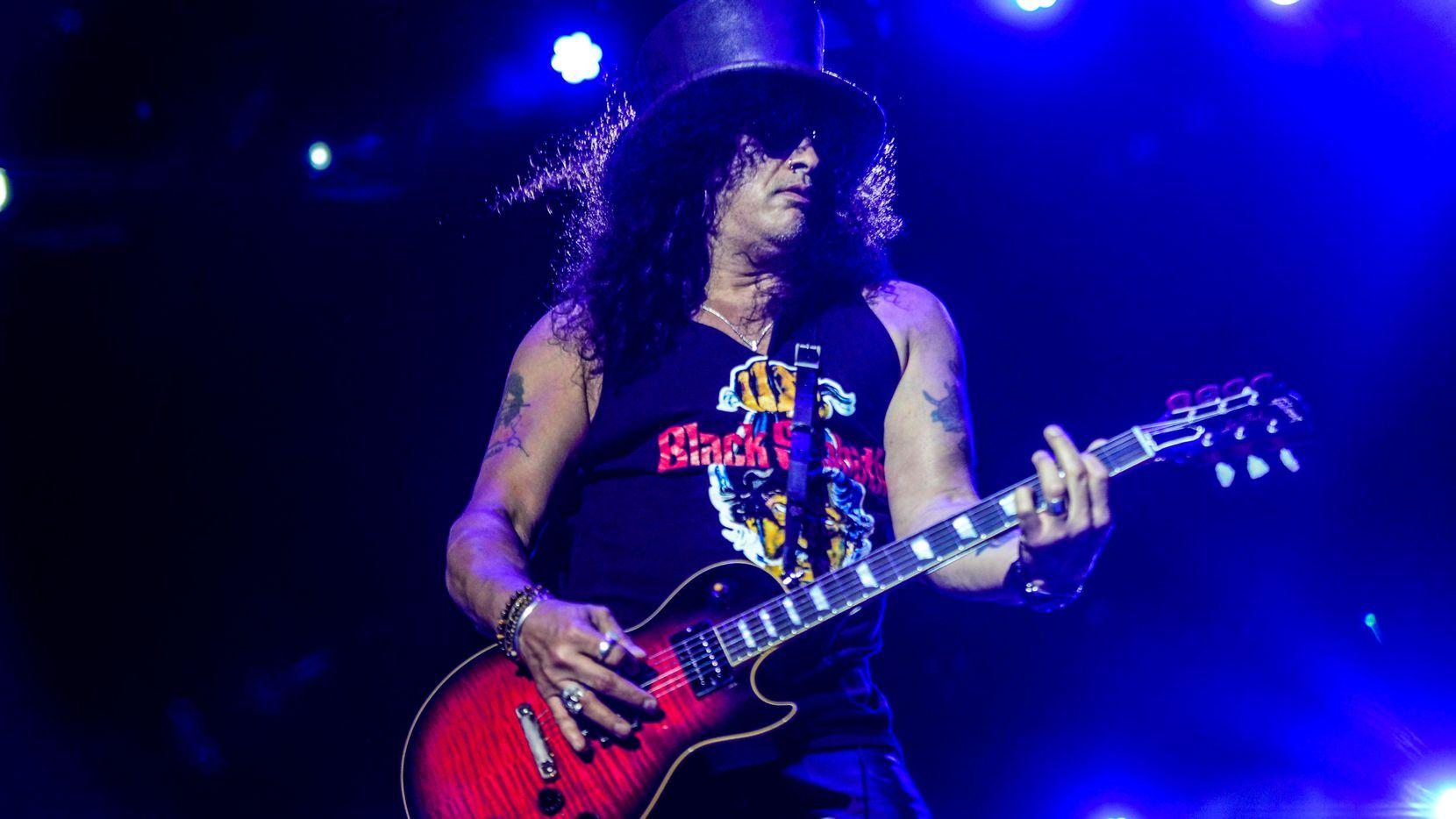 US former Guns N' Roses guitar player Slash performs in Jurere, Florianopolis, Brazil on May 22, 2019.