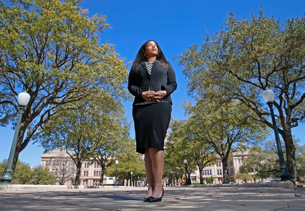 Dominique Mitchell, who worked at Texas Department of Criminal Justice as a program supervisor, poses for a photograph at Texas State Capitol in Austin, Texas, Tuesday, March 6, 2018. (Jae S. Lee/The Dallas Morning News)
