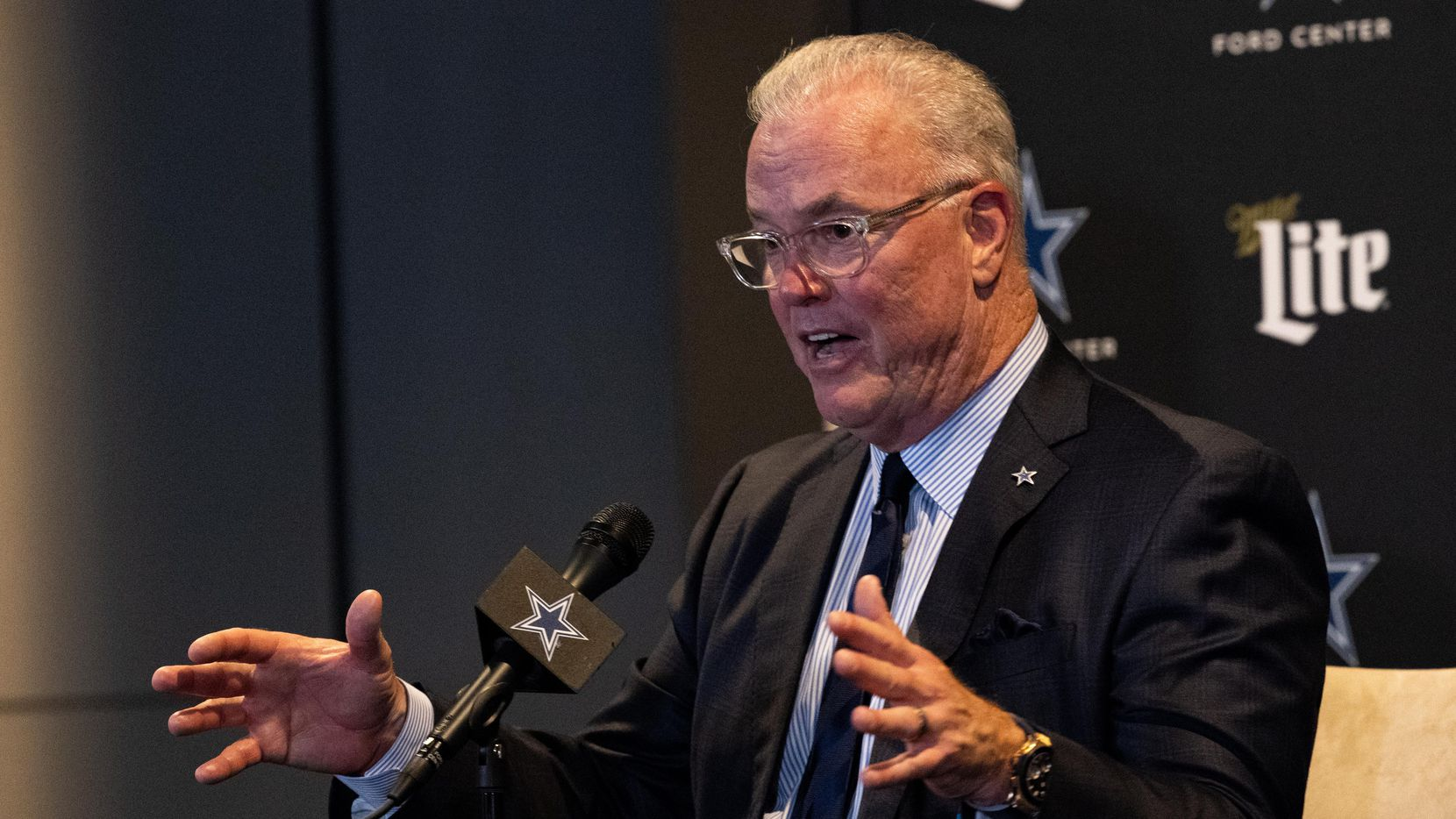 (From left) Dallas Cowboys CEO Stephen Jones speaks at a press conference following the teams decision to take Micah Parsons during the NFL draft at the Star on Thursday, April 29, 2021, in Frisco.