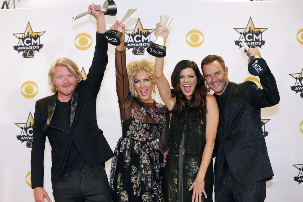 Little Big Town celebrate their win  during the 2015 Academy of Country Music Awards Sunday, April 19, 2015 at AT&T Stadium in Arlington, Texas.