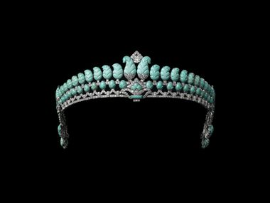 Tiara, Cartier London, special order, 1936. Platinum, diamonds, turquoise. Sold to The Honorable Robert Henry Brand. Cartier Collection. Vincent Wulveryck, Collection Cartier.