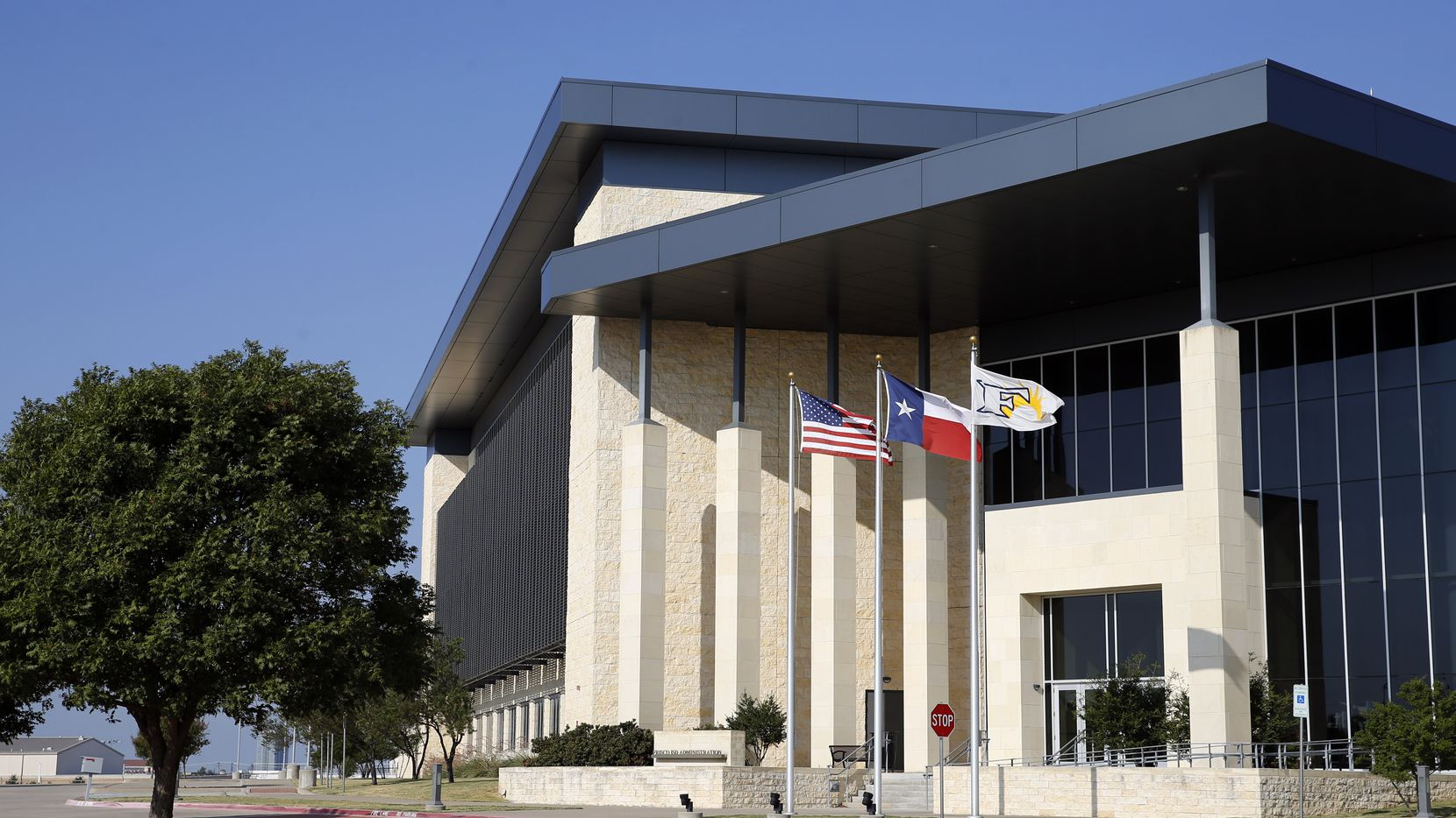 The Frisco ISD administration building, shown in a 2019 file photo. Three Frisco students claimed spots in the Dallas Cowboys Wings and Dreams Scholarship Art Contest.