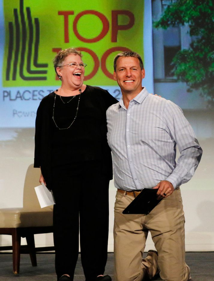 Laura Jacobus left, Dallas Morning News Top 100 Places to Work Editor poses with Todd Wagner, pastor of the Watermark Community Church during the Dallas Morning News Top 100 Places to Work luncheon at the Dallas Omni Hotel on Friday, November 17, 2016 in Dallas, Texas. (David Woo/The Dallas Morning News)