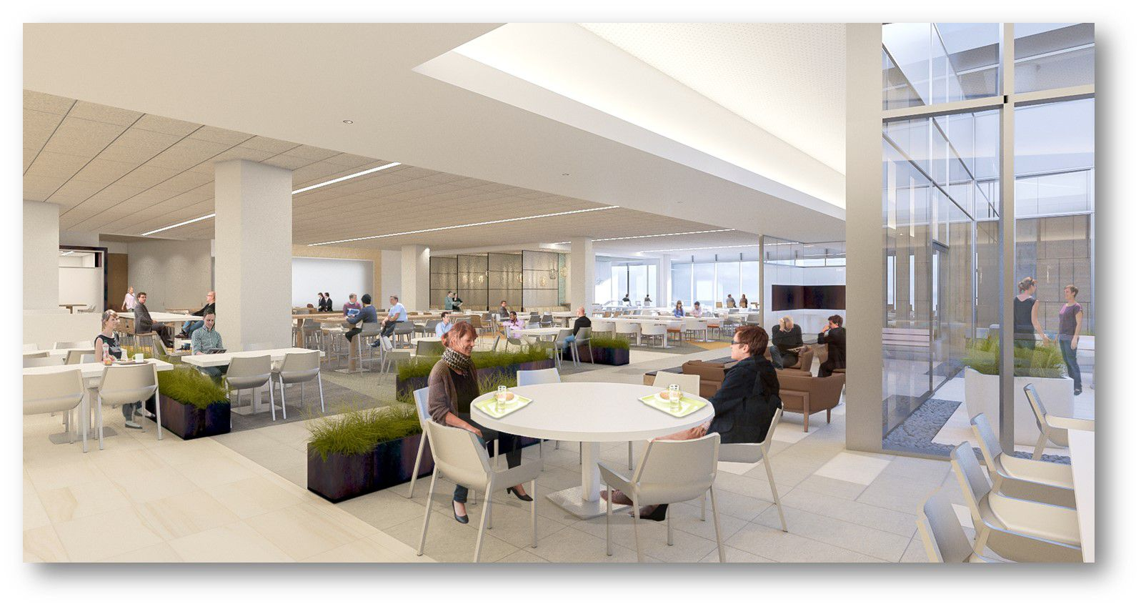 The office campus will have a large cafeteria and dining facilities.