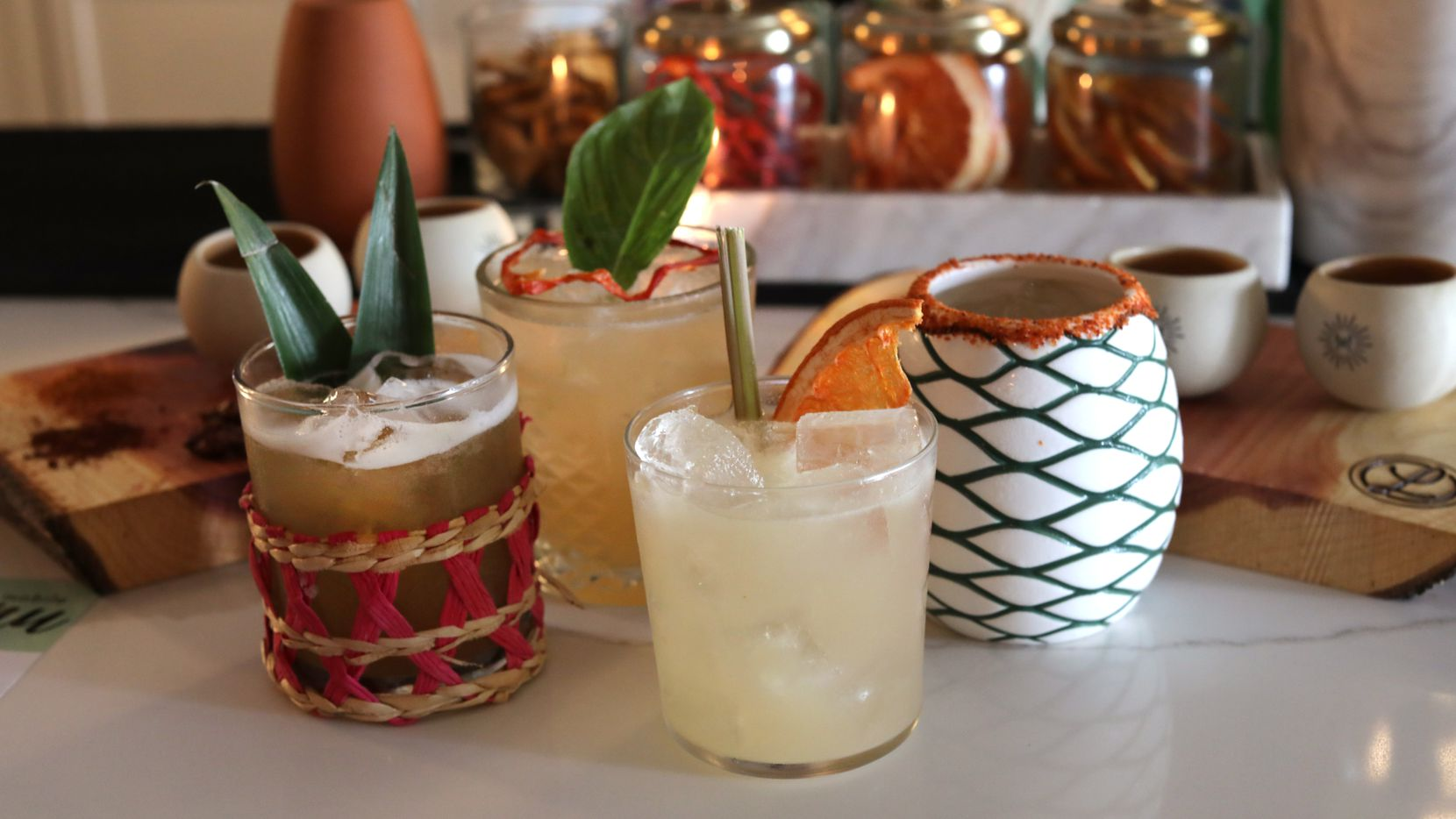 A variety of mixed drinks at Leela's Wine Bar in Dallas