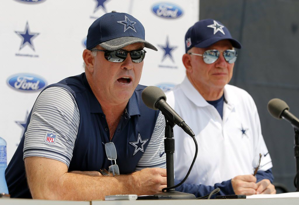 Along side his father and owner Jerry Jones (right), Chief Operating Officer / Executive Vice President Stephen Jones (left) responds to questions during the Dallas Cowboys State of the Union address to open this years training camp in Oxnard, California, Friday, July 29, 2016. (Tom Fox/The Dallas Morning News)