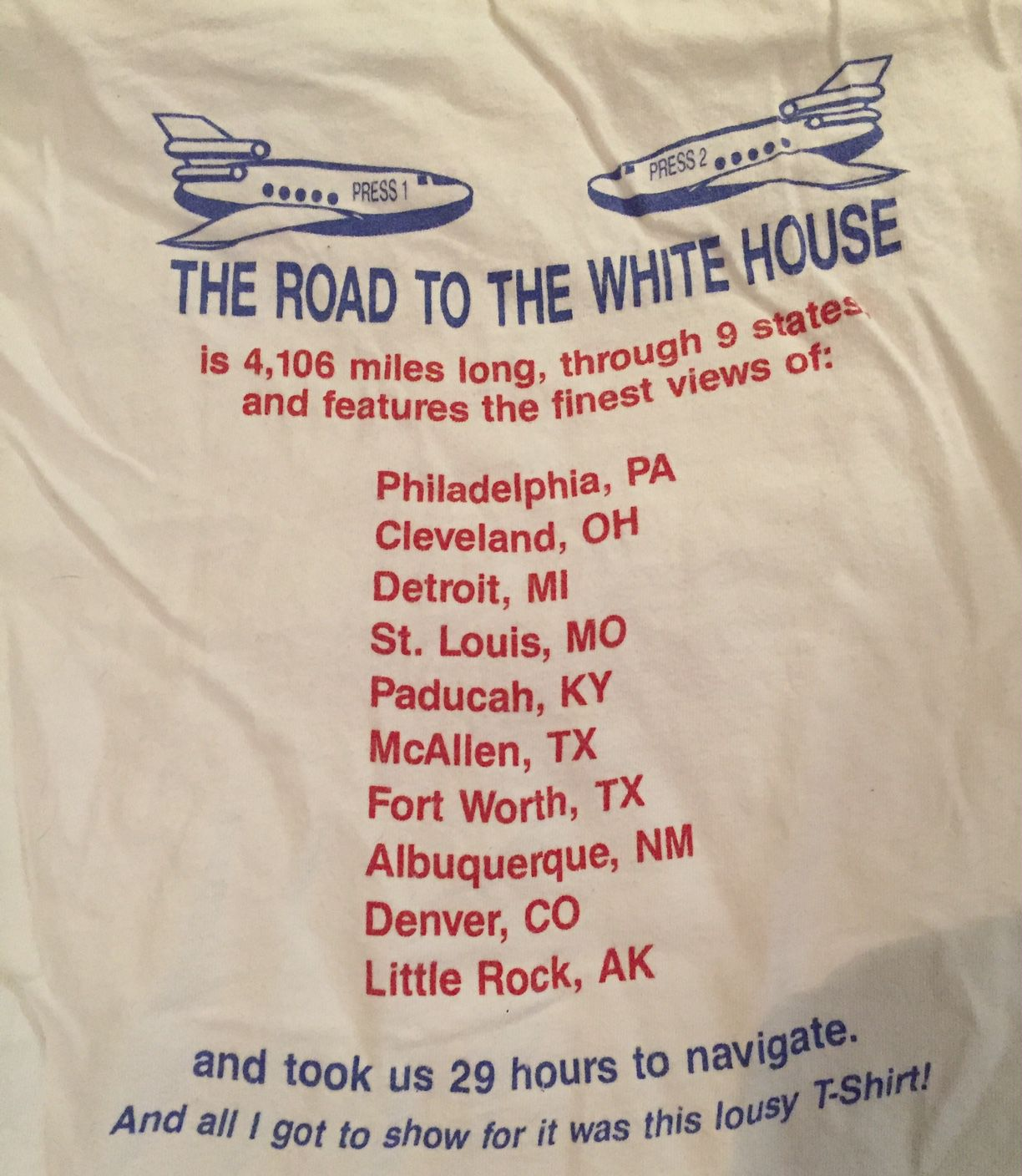 The back of the t-shirt shows the route the Clinton-Gore campaign took during its final 48 hours.