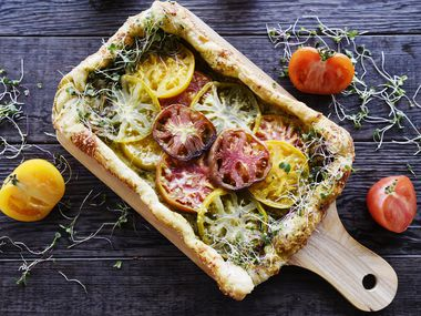 Heirloom tomato tart, from Kristen Massad at her home in Dallas, March 11, 2020. Ben Torres/Special Contributor