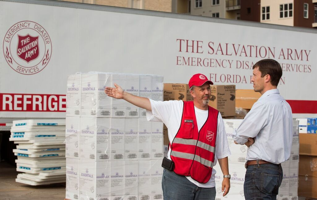 Captain Harold Laubach Jr., a pastor with the Salvation Army, speaks with Food for Good s Matt Smith about logistics in getting meals to one of the Houston neighborhoods ravaged by Hurricane Harvey. The first of PepsiCo s one million meals committed to Southeast Texas arrived just after Labor Day.