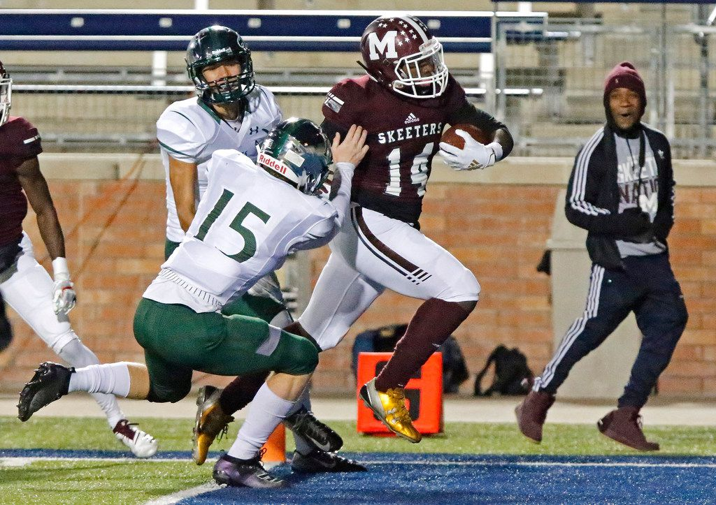 Mesquite High School wide receiver R.J. Bonner (14) crosses the goal line in front of Prosper High School linebacker Tate Nichols (15) during the first half as Prosper High School hosted Mesquite High School in a Class 6A Division I area-round playoff game at Eagle Stadium in Allen on Friday night, November 22, 2019. (Stewart F. House/Special Contributor)