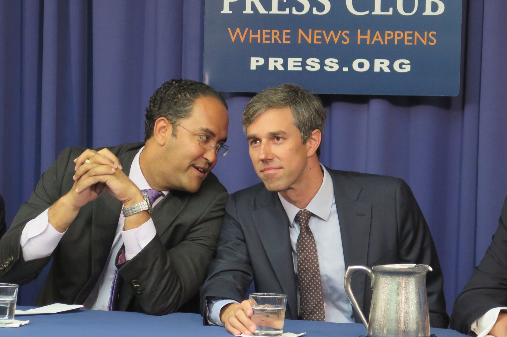 Reps. Will Hurd, left, and Beto O'Rourke receive civility award Tuesday at the National Press Club.