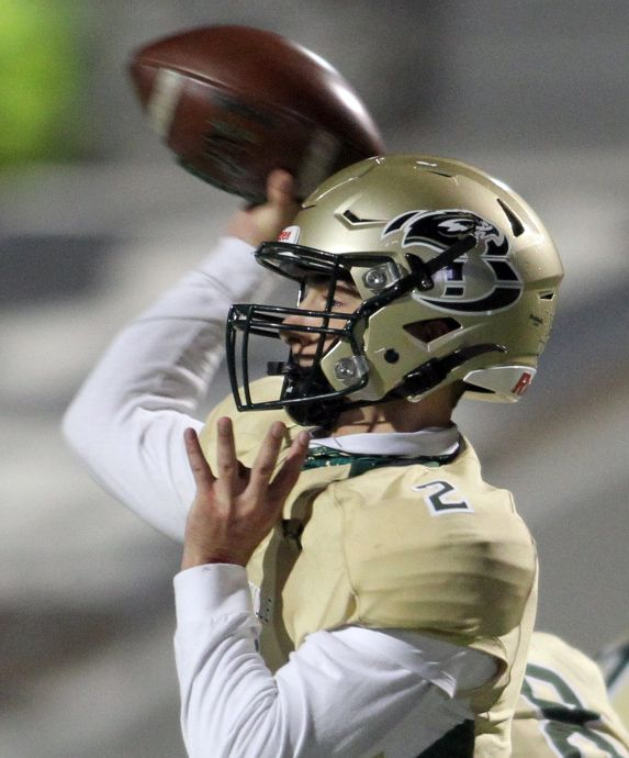 Birdville quarterback Aiden Dollar (2) launches a pass downfield during the second quarter of play against Mansfield Summit. The two teams played their District 4-5A Division l football game at Vernon Newsom Stadium in Mansfield on December 3, 2020. (Steve Hamm/ Special Contributor)
