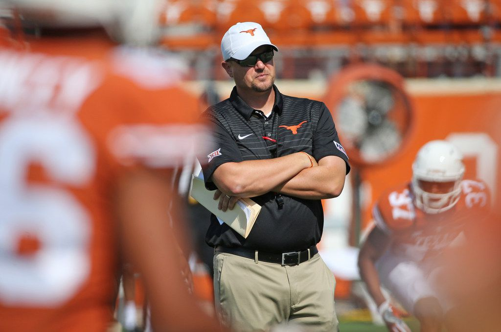 Longhorns head coach Tom Herman is pictured during pregame warmups during the University of Maryland Terrapins vs. the University of Texas Longhorns NCAA football game at Darrell K Royal Texas Memorial Stadium in Austin, Texas on Saturday, September 2, 2017. (Louis DeLuca/The Dallas Morning News)