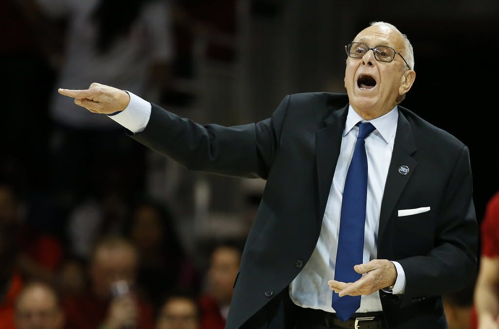SMU head coach Larry Brown directs his team against Connecticut during the first half at Moody Coliseum in Dallas, Thursday, March 3, 2016. (Jae S. Lee/The Dallas Morning News)