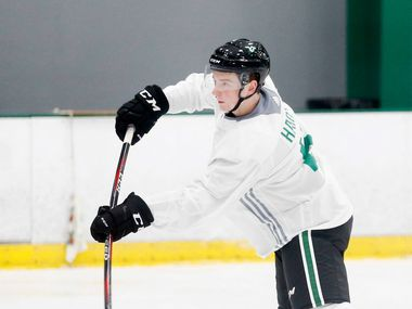 Dallas Stars Thomas Harley (5) attempts a shot on goal in a drill during the Dallas Stars prospect camp at Comerica Center in Frisco, Texas on Wednesday, June 26, 2019.