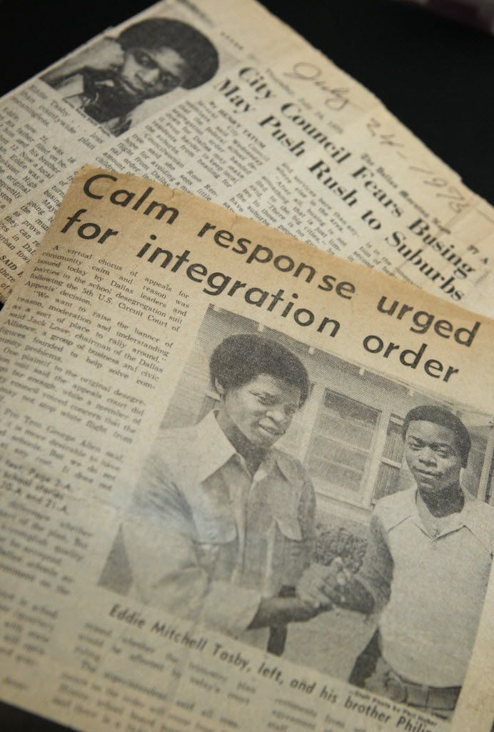 "Newspaper stories from 1975 of Eddie and Phillip Tasby covered the lawsuit filed by their father, Sam Tasby, the lead plaintiff in DISD's decades-long desegregation case. The elder Tasby fought to get his sons into the neighborhood ""white school."""