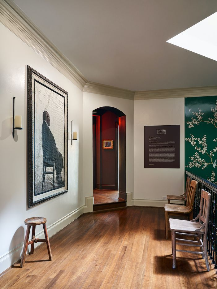 The upstairs landing at the Kips Bay Decorator Show House Dallas. This room features artwork by Letitia Huckaby.