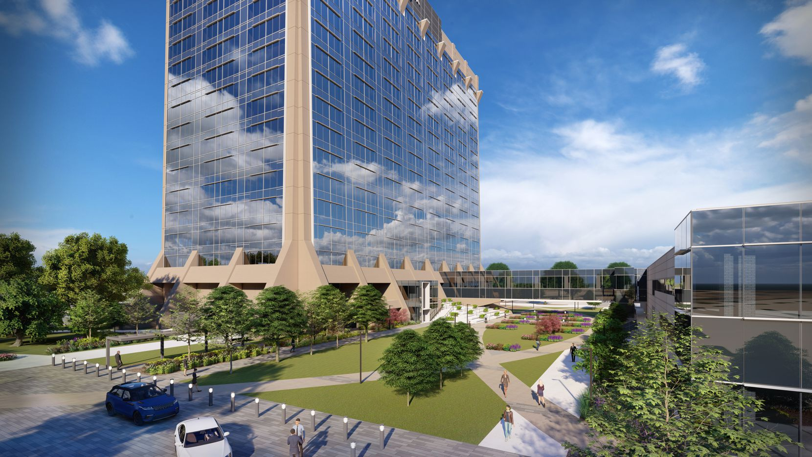 The 18-story tower on Stemmons Freeway is getting a complete redo.