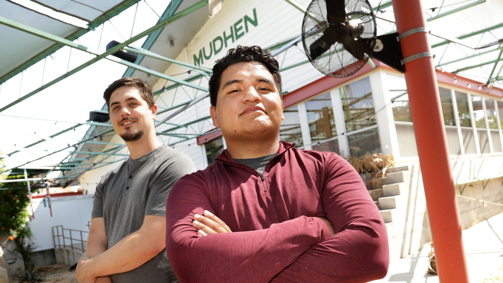Charles Nelson, left, and David Herrera pose for a photograph at the upcoming Hurdy Gurdy restaurant, located in the old Mudhen building at the Dallas Farmers Market.