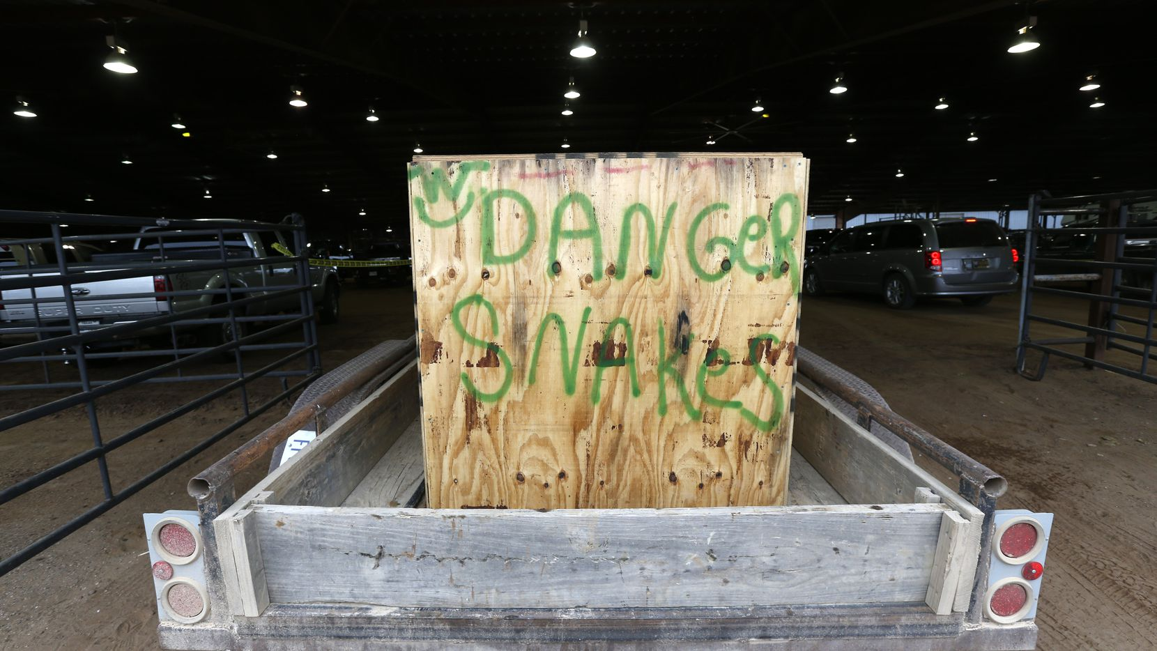 Snakes arrive in trailers at Nolan County Coliseum for the Sweetwater Rattlesnake Roundup in Sweetwater, Texas on March 10, 2017.