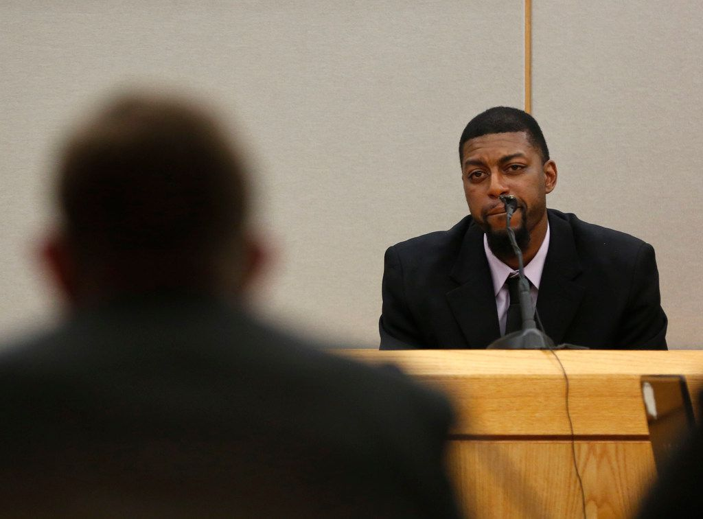 Odell Edwards testifies about his son Jordan Edwards during the sentencing phase of fired Balch Springs police officer Roy Oliver, who was convicted for the murder of 15-year-old Jordan Edwards, at the Frank Crowley Courts Building in Dallas on Tuesday, Aug. 28, 2018. (Rose Baca/The Dallas Morning News)
