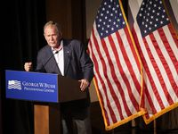 """Former President George W. Bush delivers remarks before a screening of the new documentary """"9/11: Inside the President's War Room"""" at the George W. Bush Presidential Center on Sept. 11, 2021."""