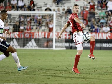 Callum Montgomery of FC Dallas and North Texas SC plays the ball wide in the USL League One Final won by North Texas SC, October 19, 2019.