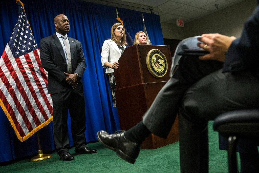 U.S. Attorney Erin Nealy Cox, center, speaks on the investigation involving Dallas Mayor Pro Tem Dwaine Caraway, alongside FBI Special Agent-in-Charge Eric Jackson, left, and IRS Dallas Field Office Special Agent in Charge Tamera Cantu at the Earle Cabell Federal Building in Dallas on Aug. 9, 2018. Caraway will plead guilty to federal corruption charges, according to documents filed in Dallas federal court Thursday morning. (Carly Geraci/The Dallas Morning News)
