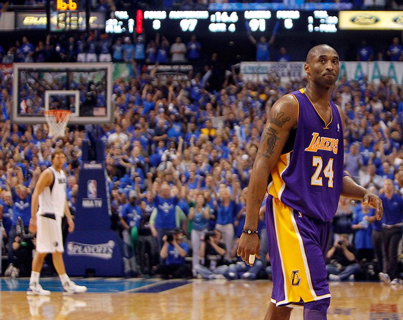 Los Angeles Lakers shooting guard Kobe Bryant (24) reacts after the Dallas Mavericks made two free throws during the final minute of the fourth quarter of play in Game 3 of the NBA Western Conference Semifinals at American Airlines Center in Dallas, Texas, on May 6, 2011. The Mavericks won 98-92 to go up 3-0 in the series.
