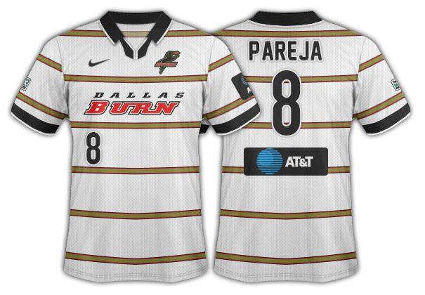 1998-99 Dallas Burn white with thin wasabi hoops and the Burn wordmark.