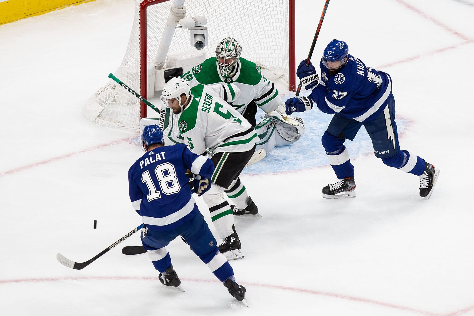 Goaltender Anton Khudobin (35) of the Dallas Stars defends the net against Ondrej Palat (18) of the Tampa Bay Lightning during Game Two of the Stanley Cup Final at Rogers Place in Edmonton, Alberta, Canada on Monday, September 21, 2020. (Codie McLachlan/Special Contributor)