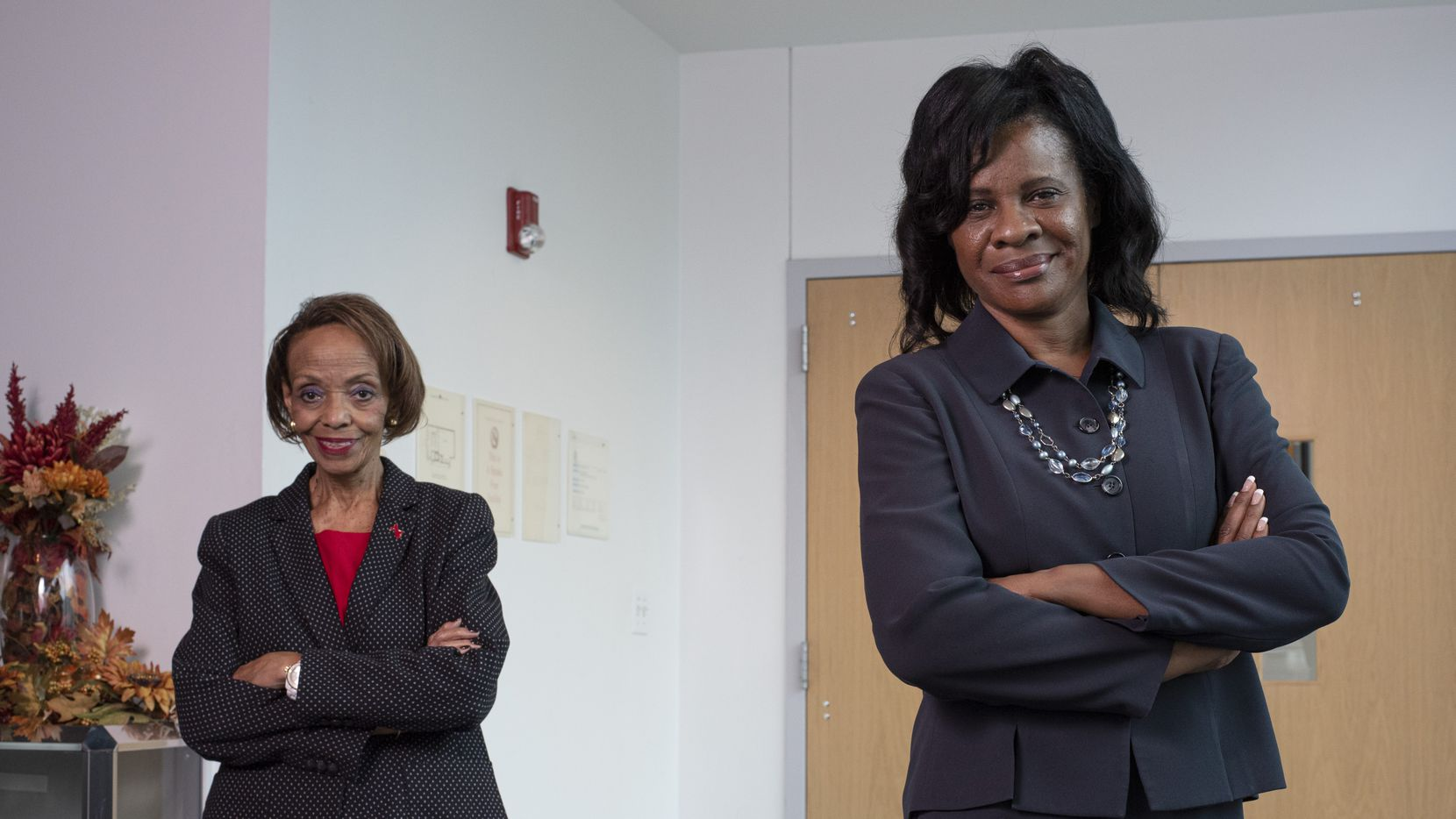 Head Start of Greater Dallas Chief Executive Officer Kathryn McCartney, left, and board President Laura Cobb Hayes, right, at Head Start's headquarters in southern Dallas, Sept. 21, 2020. Hayes is the first Black female president elected to the board.