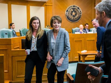 Eve Wiley (left) and her mother, Margo Williams (center), shown after testifying before a Texas Senate committee last month, appeared on ABC's '20/20' Friday night and identified Nacogdoches obstetrician Kim McMorries as Eve's biological father.