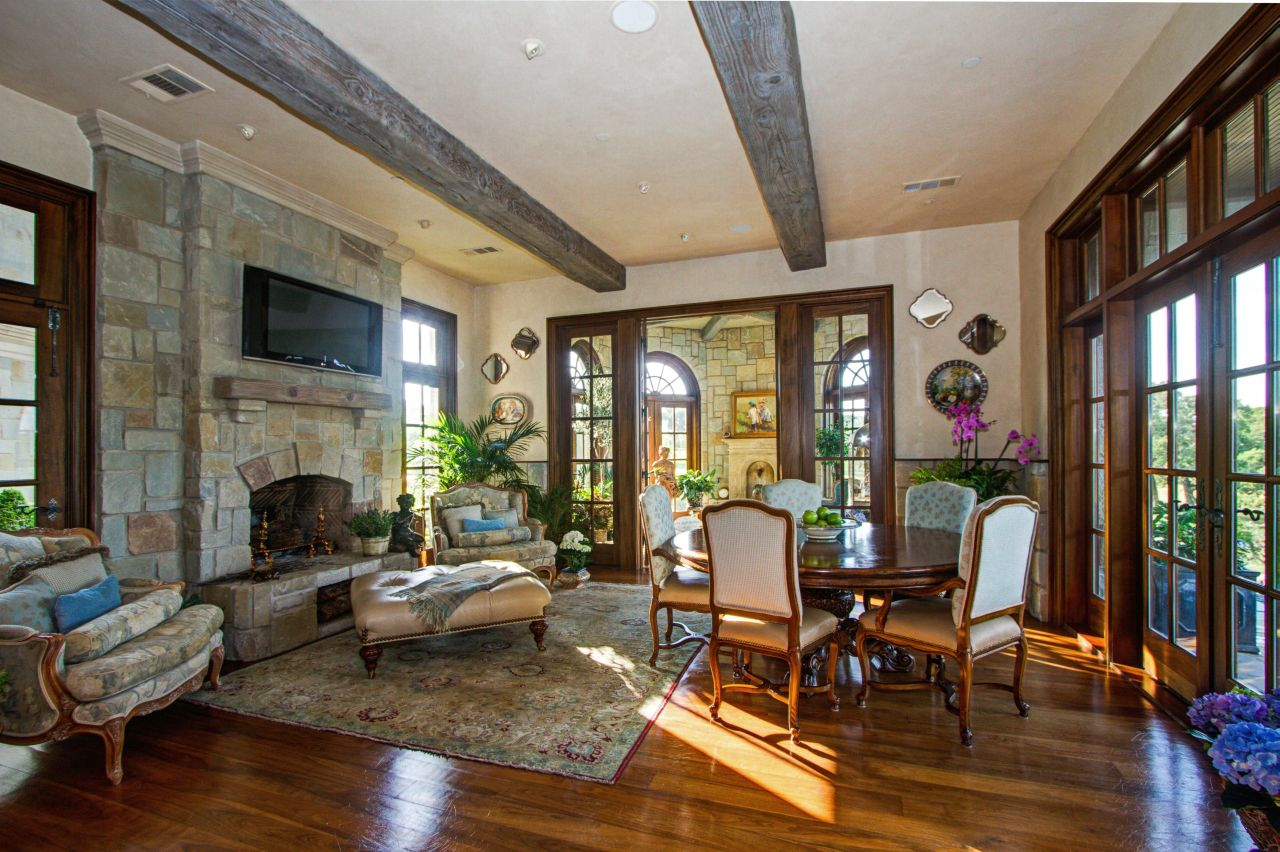 The hearth room in the 12,000-square-foot home