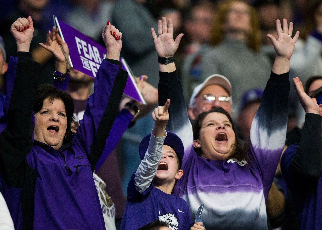 TCU Horned Frogs fans cheer during the second quarter of the Valero Alamo Bowl between TCU and Stanford on Thursday, December 28, 2017 at the Alamodome in San Antonio. (Ashley Landis/The Dallas Morning News)