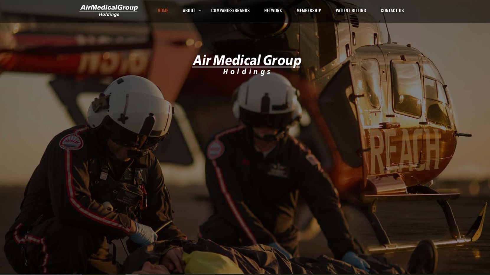 Screen grab of the website for American Medical Group Holdings, a Lewsiville-based air ambulance operator owned by a New York private equity firm.