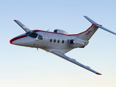 A Phenom 100 jet flown by JetSuite, Dallas'  new high-profile aviation company. It handles charters, on-demand flights and is pushing a number of technology boundaries like hybrid planes.