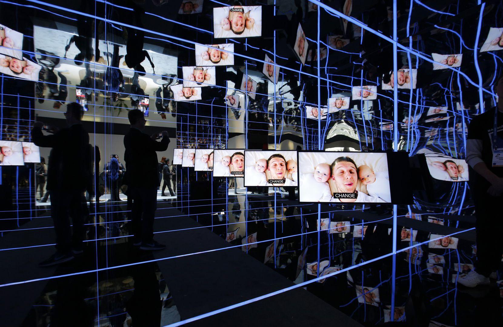 Samsung Sero TVs can rotate to play vertically or horizontally. (AP Photo/John Locher)